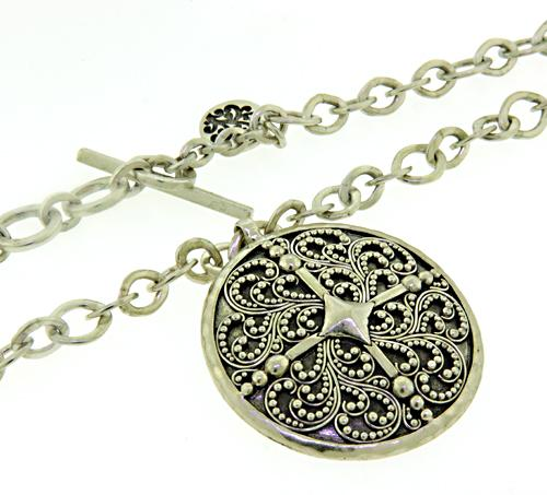 Lois Hilll Sterling Silver Medallion Pendant Necklace