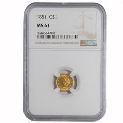 1857 Gold US $ 1 Dollar In An NGC AU 58 Holder
