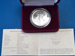 1990 BU Silver Eagle in Mint Box w Papers