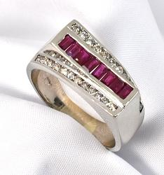 Flashy Man's Ruby and Diamond Ring