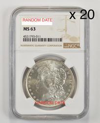20 - MS63 Morgan Silver Dollars - NGC Graded