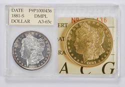 A3-65c 1881-S Morgan Silver Dollar - Accugrade Graded