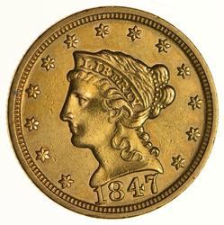 1847 $2.50 Liberty Head Gold Quarter Eagle - Near Uncirculated