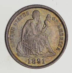 1891 Seated Liberty Silver Dime - Uncirculated