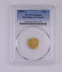 AU Detail 1859-C Indian Princess Head Gold Dollar - Filed Rims - PCGS