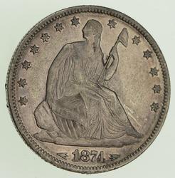 1874 Seated Liberty Silver Half Dollar - Near Uncirculated