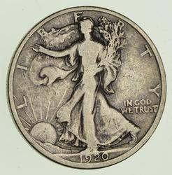 1920-D Walking Liberty Silver Half Dollar - Circulated