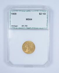MS64 1909 $2.50 Indian Head Gold Quarter Eagle - Graded by PCI