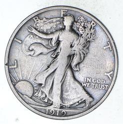 1919-S Walking Liberty Silver Half Dollar - Circulated