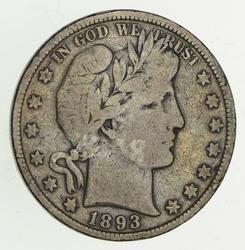 1893 Barber Head Silver Half Dollar - Circulated