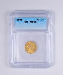 MS65 1908 $2.50 Indian Head Gold Quarter Eagle - JJXX - Graded ICG
