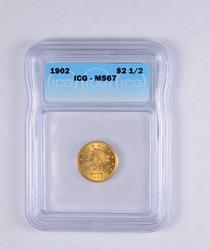 MS67 1902 $2.50 Liberty Head Gold Quarter Eagle - JAXX - Graded ICG
