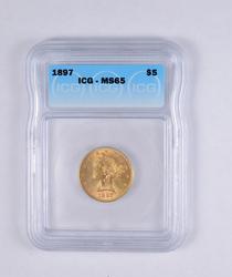 MS65 1897 $5.00 Liberty Head Gold Half Eagle - OXX - Graded ICG