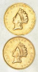 Lot (2) 1855 & 1855-O Indian Princess Head Gold Dollars