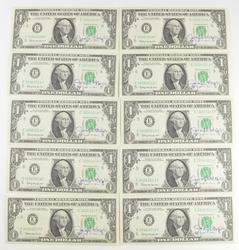 Lot (13) 1969 $1 Federal Reserve Notes - Courtesy Signed