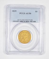 AU50 1835 $5.00 Classic Head Gold Half Eagle - Graded PCGS