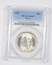 MS67 1935 Boone Bicentennial Commemorative Half Dollar - Graded PCGS