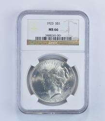 MS66 1923 Peace Silver Dollar - Graded NGC