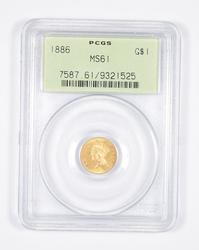 MS61 1886 $1.00 Indian Princess Head Gold - OGH - Graded PCGS