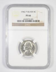 PF66 1942-P Jefferson Silver Nickel - Graded NGC