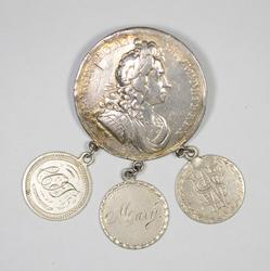 Silver Coronation Medal/Love Token Pin British - US Coins Seated Dime