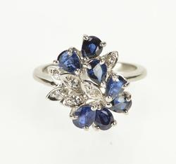 14K White Gold 2.95 Ctw Pear Sapphire Diamond Cluster Cocktail Ring