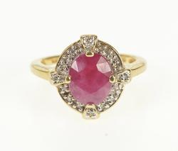 14K Yellow Gold Oval Natural Ruby Diamond Halo Engagement Ring