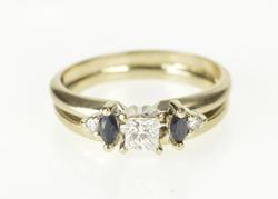 14K White Gold 0.46 Ctw Princess Diamond Sapphire Engagement Ring
