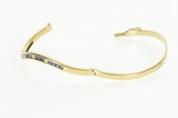 14K Yellow Gold 1.35 Ctw Channel Sapphire Diamond Bangle Bracelet