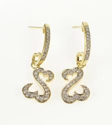 14K Yellow Gold 0.30 Ctw Curvy Heart Dangle Semi Hoop Earrings