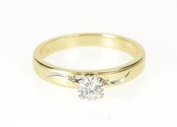 14K Yellow Gold 0.36 Ct Retro Diamond Solitaire Engagement Ring