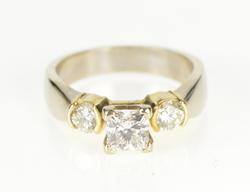 14K White Gold 1.30 Ctw Princess Cut Three Stone Engagement Ring