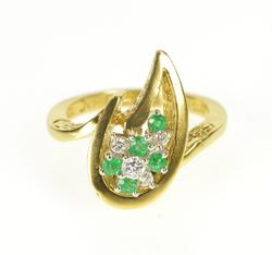 18K Yellow Gold Van Clief Emerald Diamond Retro Flame Cocktail Ring