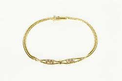 14K Yellow Gold Retro Diamond Twist Loop Fancy Chain Bracelet