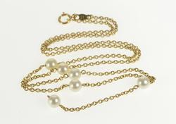 14K Yellow Gold Pearl Beaded Cable Drop Dangle Chain Necklace