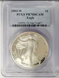 2004-W Certified Proof Silver Eagle PR70 PCGS