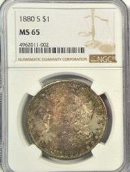 Gorgeous Gem BU 1880-S Morgan Dollar in NGC MS65