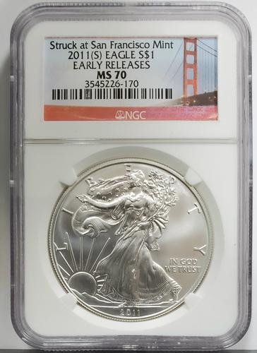 2011(S) Certified Silver Eagle MS70 NGC Early Release