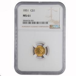 1851 NGC MS 61 $1 US Gold Piece
