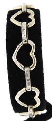 Sterling Silver Dimond Accent Double Heart Bracelet