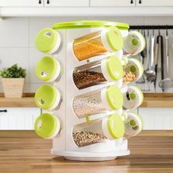 360 Rotating Portable 16 Spice Jar Rack Organizer