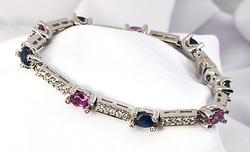 Fabulous Sapphire & Diamond Bracelet in 14 WG