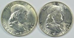 2 Choice BU 1949-P Franklin Halves FBL original roll