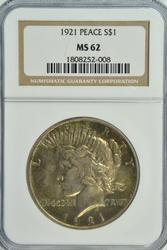 Scarce Choice BU 1921 Peace Silver Dollar. NGC MS62