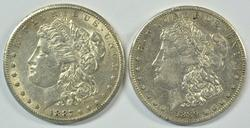 High end 1887-S & 1889-S Morgan Silver Dollars. Scarce