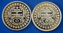 2 1/2 OZ. 999 SILVER GOLD PLATE AVON SALES AWARD ROUNDS