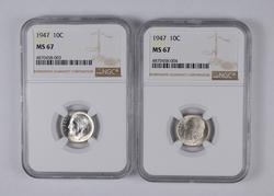 Lot (2) MS67 1947 Roosevelt Dimes - Graded NGC