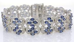 Fascinating Intricate Tanzanite & CZ Wide Bracelet, Sterling Silver