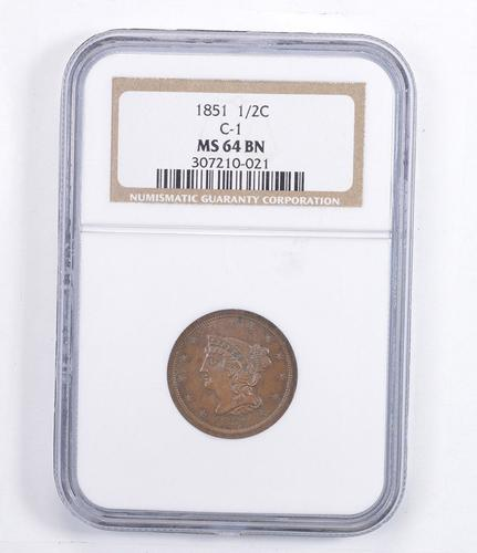 MS64 BN 1851 Braided Hair Half Cent - C-1 - Graded NGC