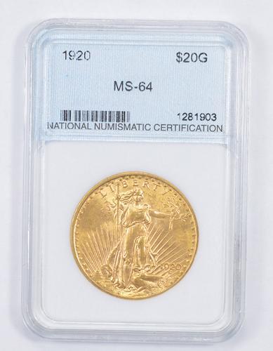 MS64 1920 $20.00 Saint-Gaudens Gold Double Eagle - Graded NNC